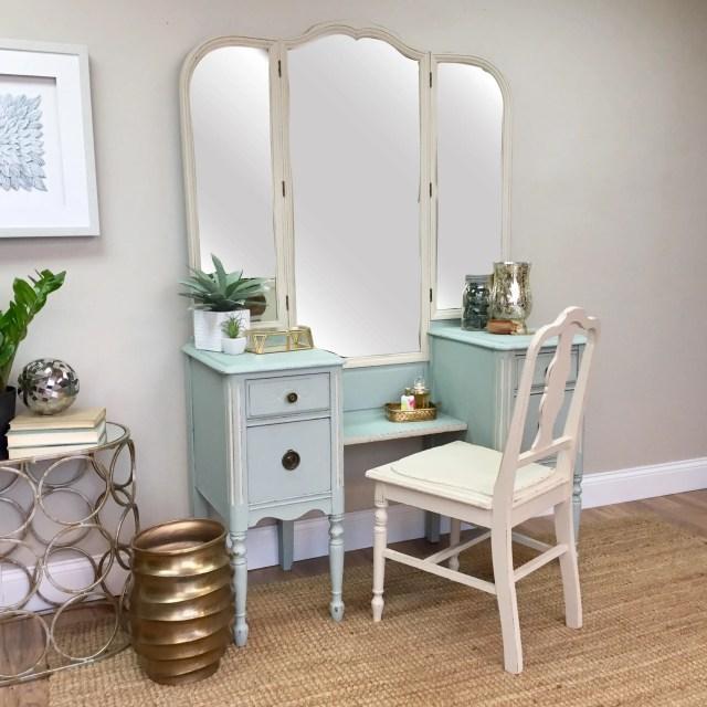 Blue Vanity Makeup Vanity Table Vintage Bedroom Furniture