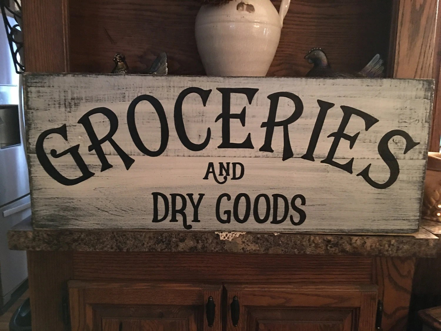 Groceries  Dry Goods distressed sign hand made hand painted