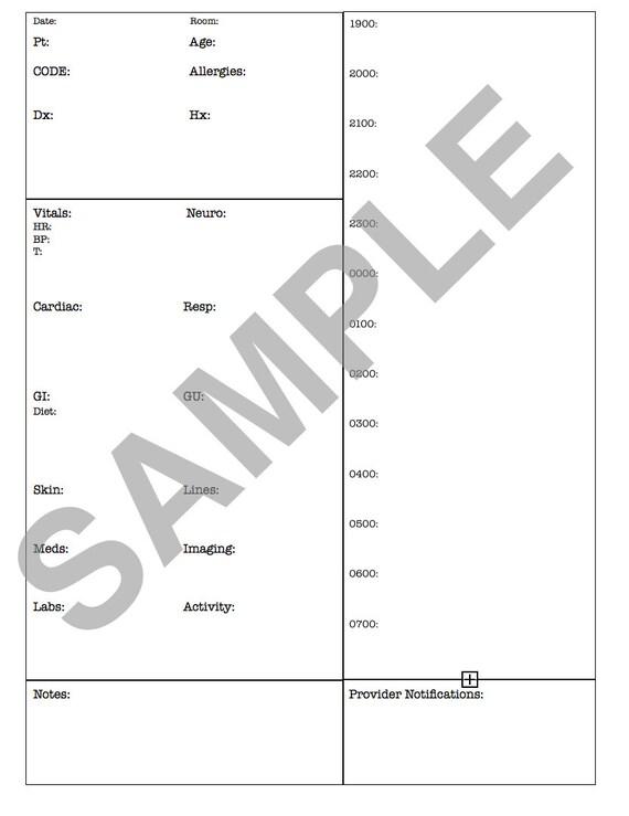 MED/SURG Report Sheet nights 1900-0700