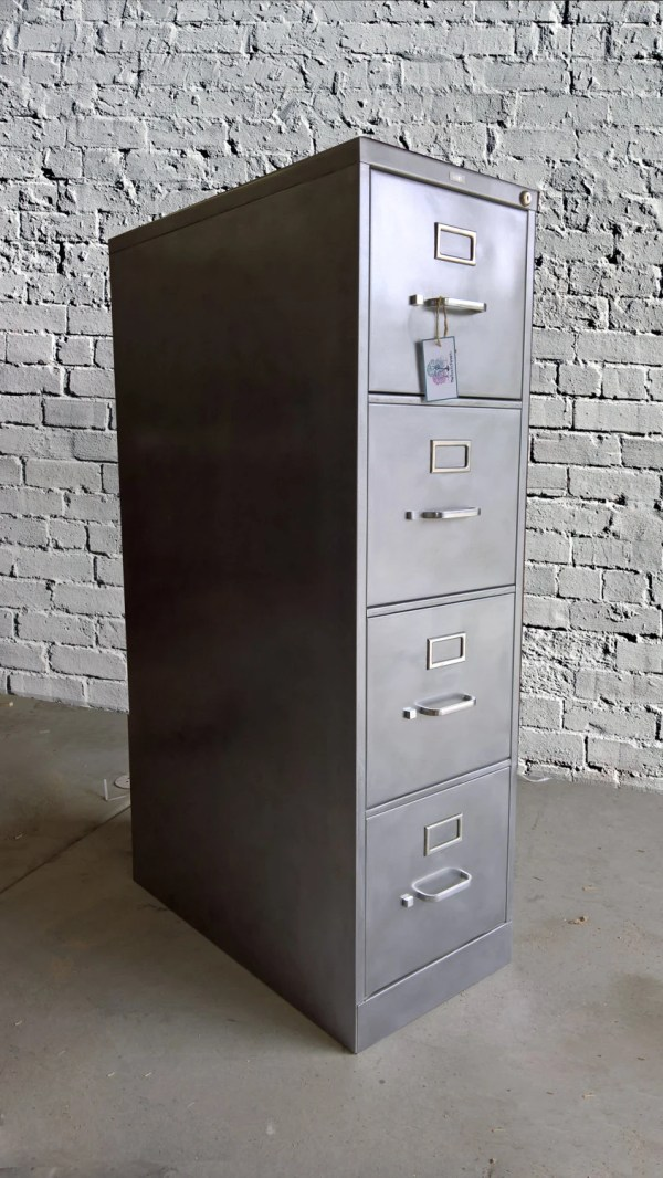 Refinished 4 Drawer Metal Filing Cabinet Industrial