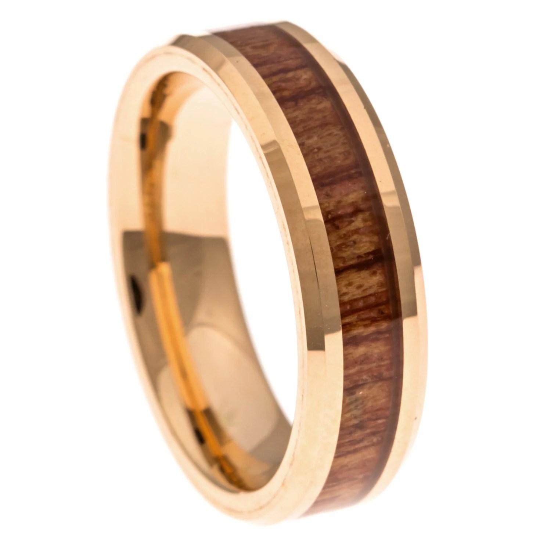 Mens Wedding Band Rose Gold Hawaiian Koa Wood Inlay 6MM
