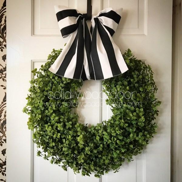 Fall Faux Boxwood Wreath Nautical Burlap 22