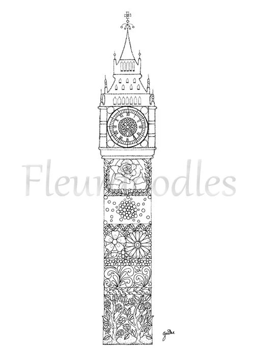 coloring page Big Ben printable download adult colouring