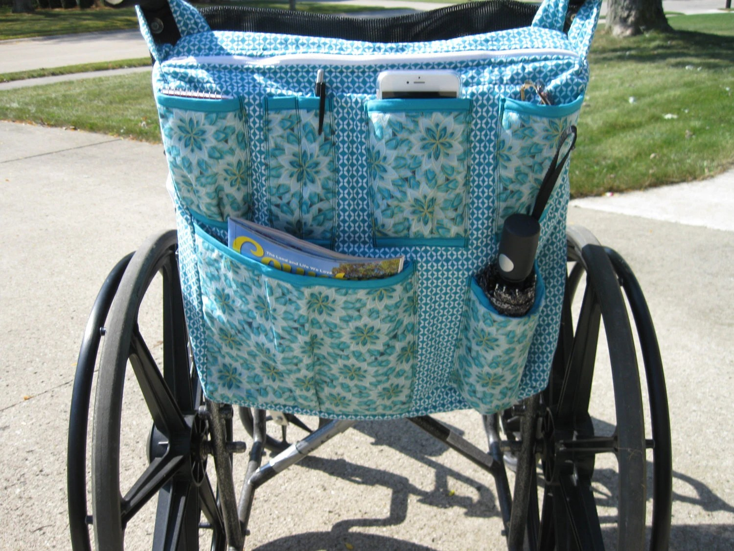 chair bags for school pattern black and white leather dining chairs wheelchair bag teal light
