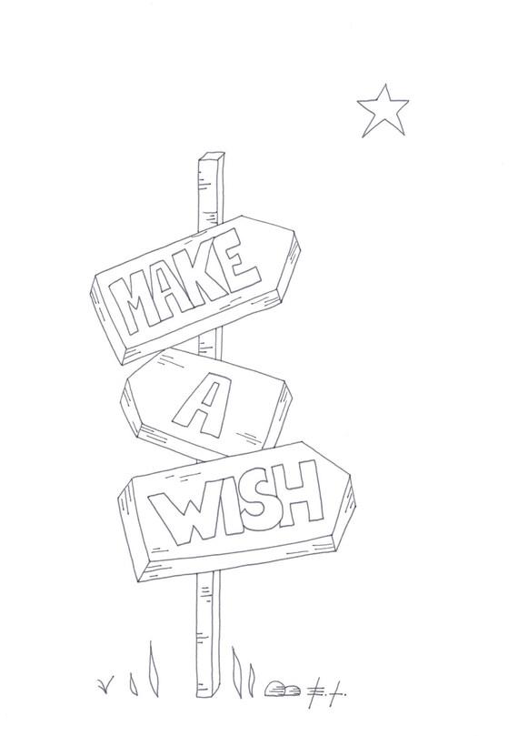 Make a wish poster stampabile download istantaneo biglietto