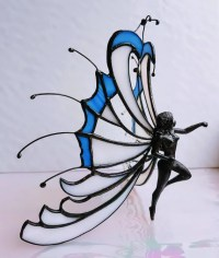 Stained glass fairy angel in Tiffany glass sculpture of