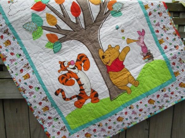 Baby Quilt With Winnie Pooh Fabrics Gender Neutral