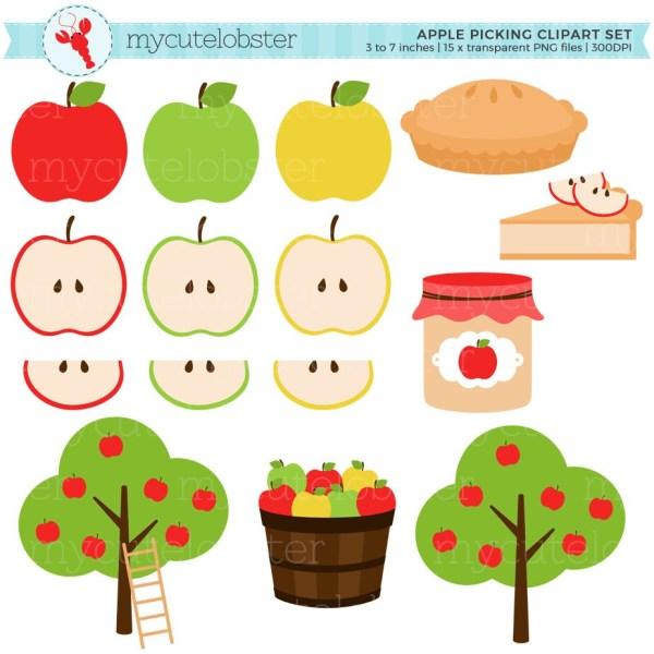 apple picking clipart set apples