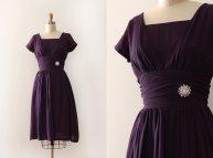 Vintage 1950s Dress 50s Purple Evening Prom