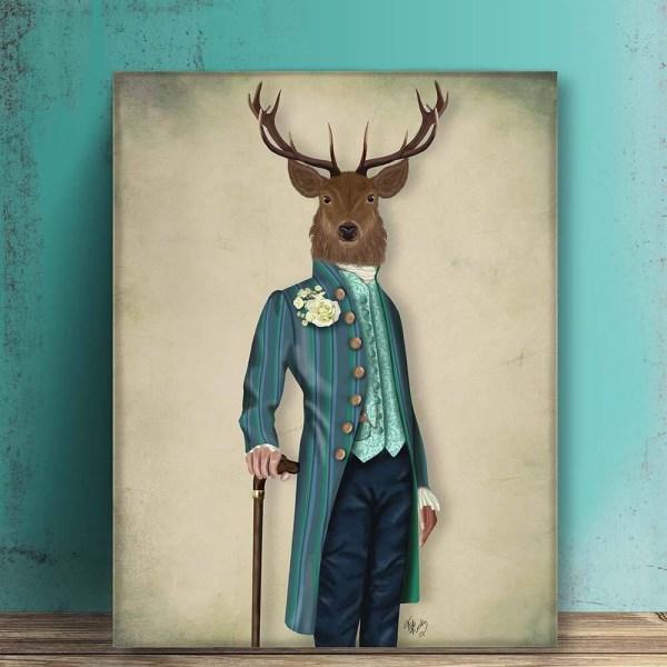 Wall Decor Animal Art Large Canvas Flamboyant Deer