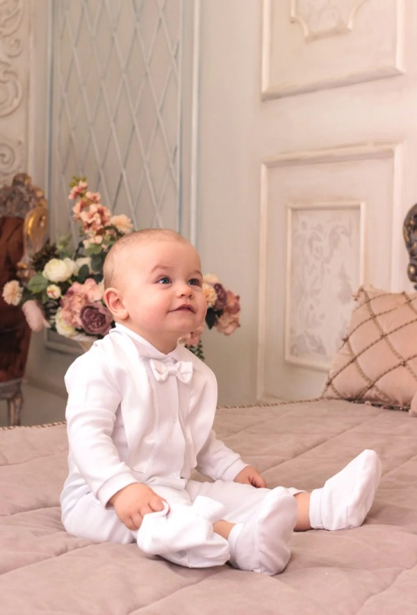 Baby Boy Christening Outfit Toddler White Romper Cotton
