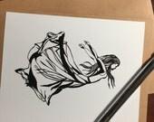 Flying - Original Ink Dra...