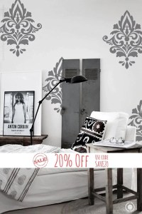 Big Damask Pattern Vinyl Wall Decal Home Decoration by ...