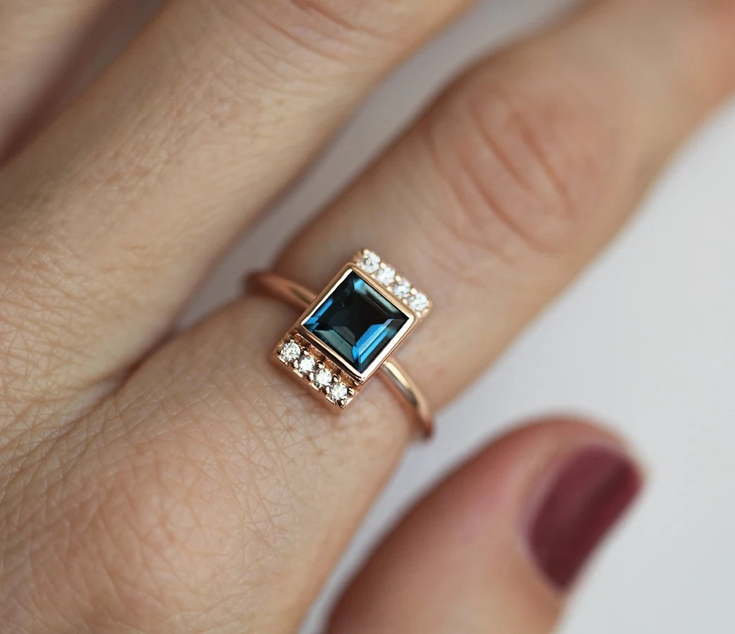 London Blue Topaz Ring Square Topaz Ring Gold Topaz Ring