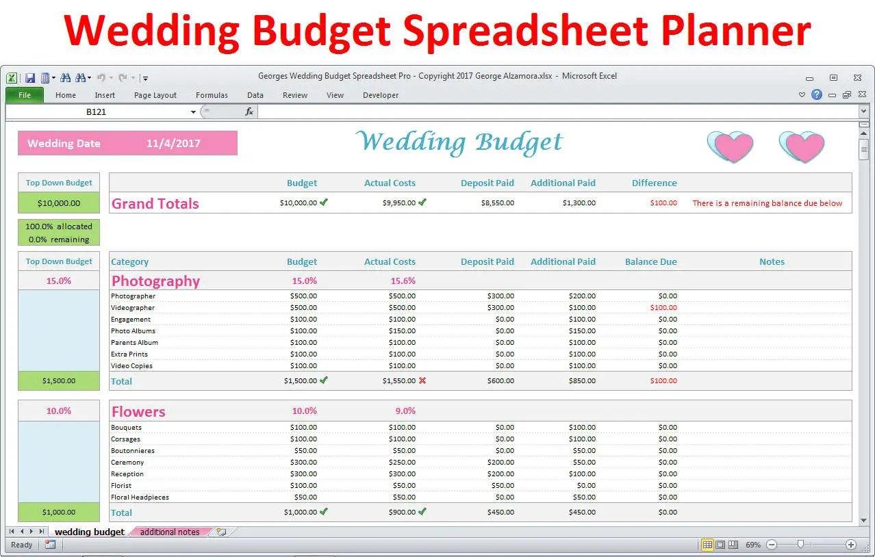Wedding Planner Budget Template Excel Spreadsheet Wedding