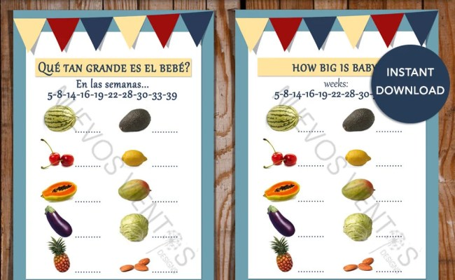 Baby Shower Game Spanish English Versions How Big Is