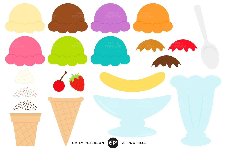 Ice Cream Sundae Clip Art Ice Cream Kit Clipart Build Your