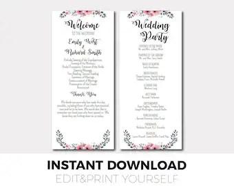 Rose Gold Wedding Program Template Order of Ceremony