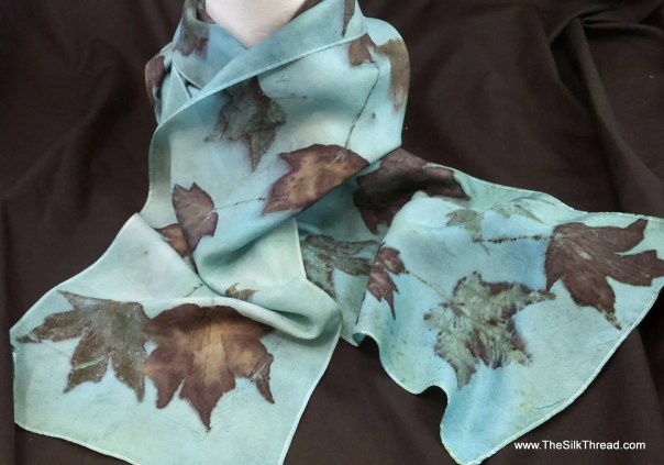 """Blue Silk Scarf, Stunning maples ecoprinted on silk by artist,natural, sustainable, unique slow fashion art, 8"""" x 72"""" 125F Free USA ship"""
