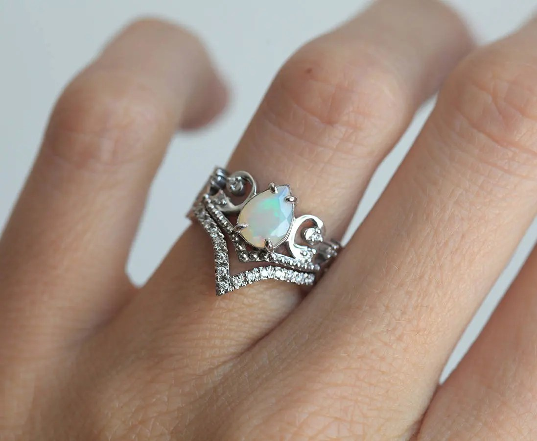 Opal Wedding Ring Set Opal Engagement Ring Set Vintage