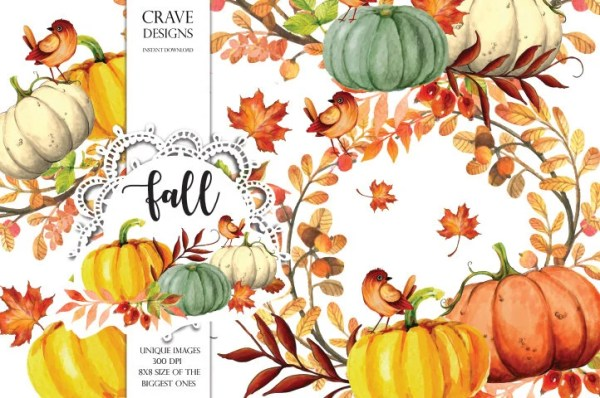 fall clip art autumn clipart watercolor