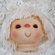 vintage yarn hair doll head white