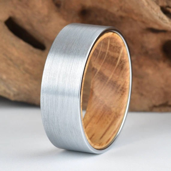 Whisky Barell Wood Mens Wedding Ring Tungsten Wood Ring Lined