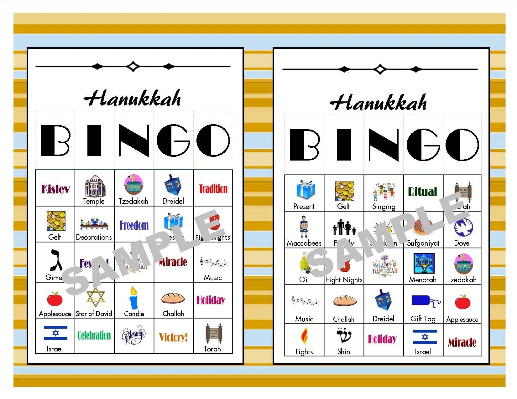 30 Printable Hanukkah BINGO Cards Hanukkah Games Hanukkah