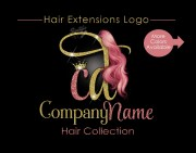 hair extensions business logo glitter