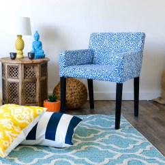 Ikea Nils Chair Covers Uk Fabric Covered Side Chairs Custom Slip Cover Regal Ikat Srilanka Indigo