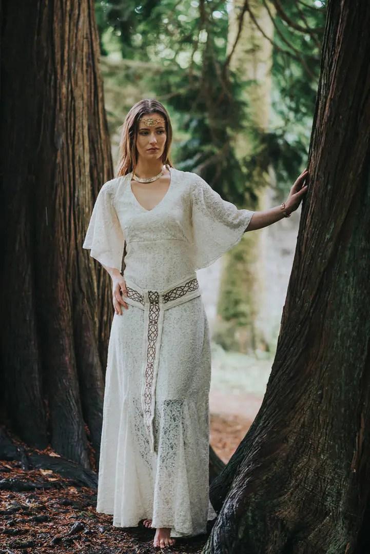 Pagan Handfasting Wedding Dress Sleeved Wedding Dress Celtic