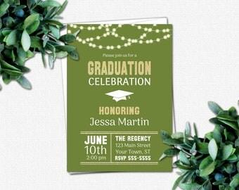 PRINTABLE Graduation Invitations - DIY Invitation - High School or College Graduation Party Invitations | School Colors | Rustic Lights