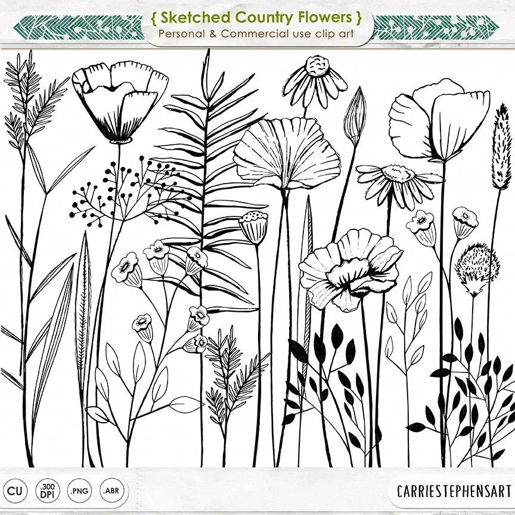 Long Stem Flower Line Art Sketched Flower Digital Stamps