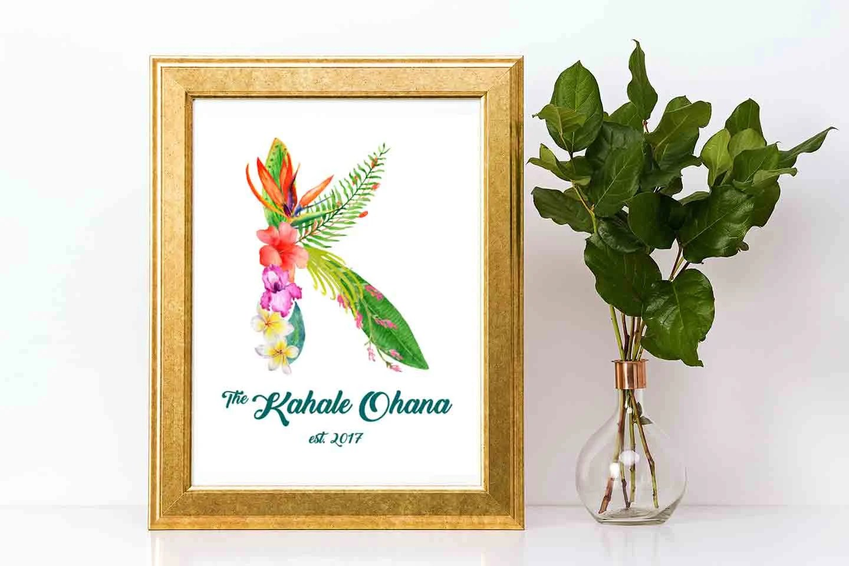 Personalized Ohana Sign Digital Download, Hawaii Wedding Art, Housewarming  Gift, Family Established Sign