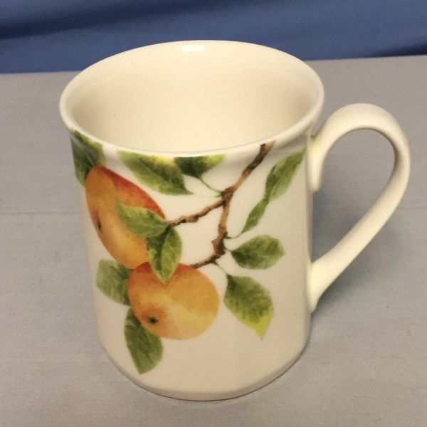 Royal Doulton Citrus Grove Bone China Peach Coffee Mugs