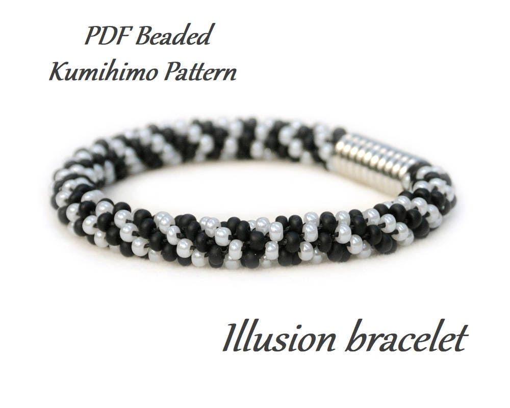 PDF Beaded Kumihimo Pattern Illusion Kumihimo bracelet