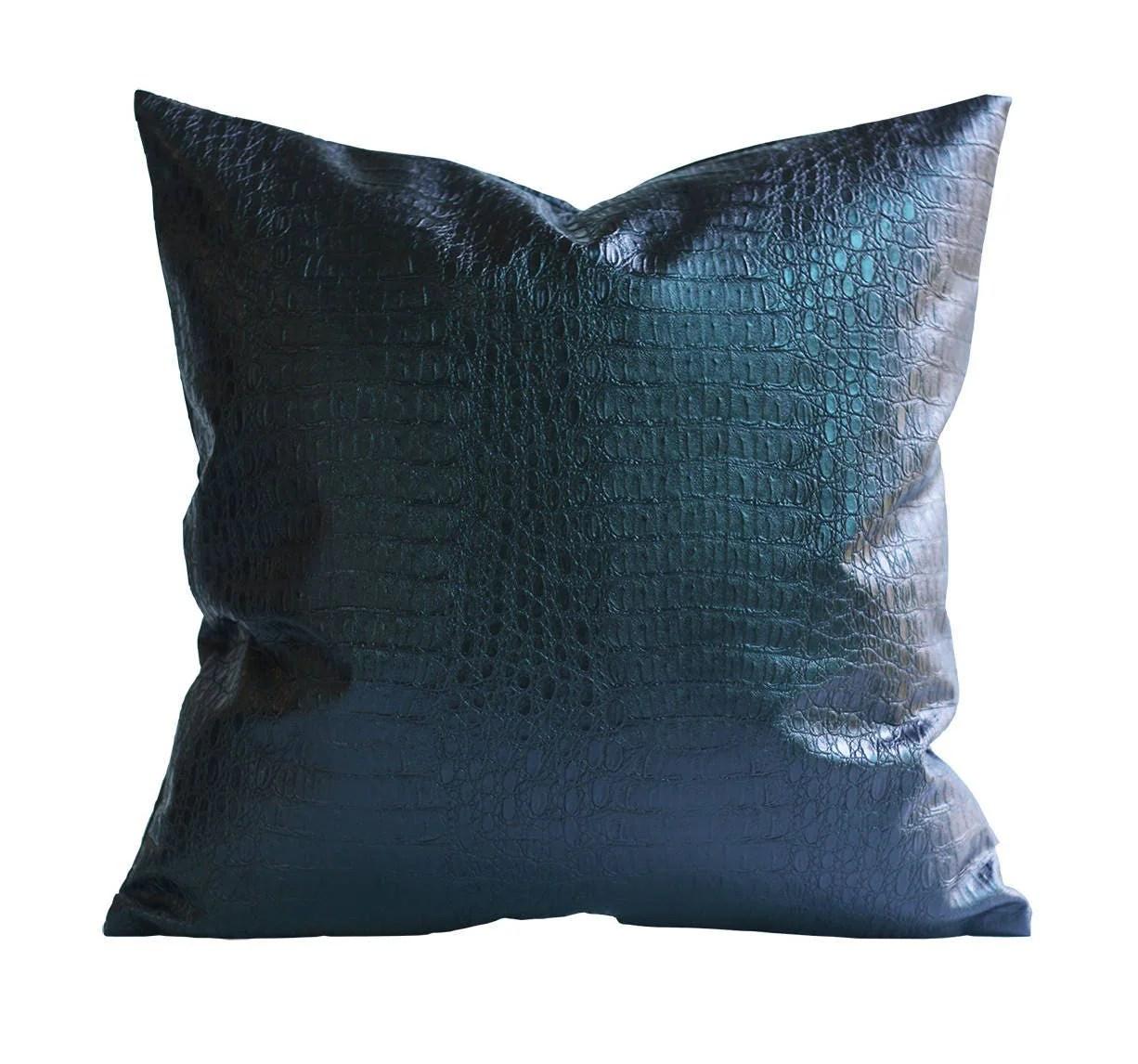 Kdays Croc Faux Leather Black Pillow Cover Decorative For