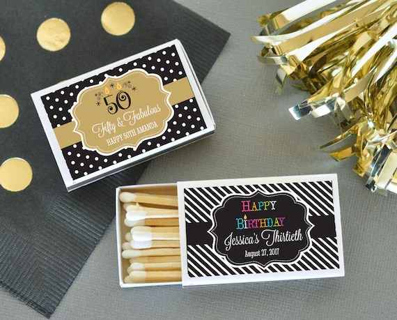 100 Personalized Match Box 50th Birthday Favor