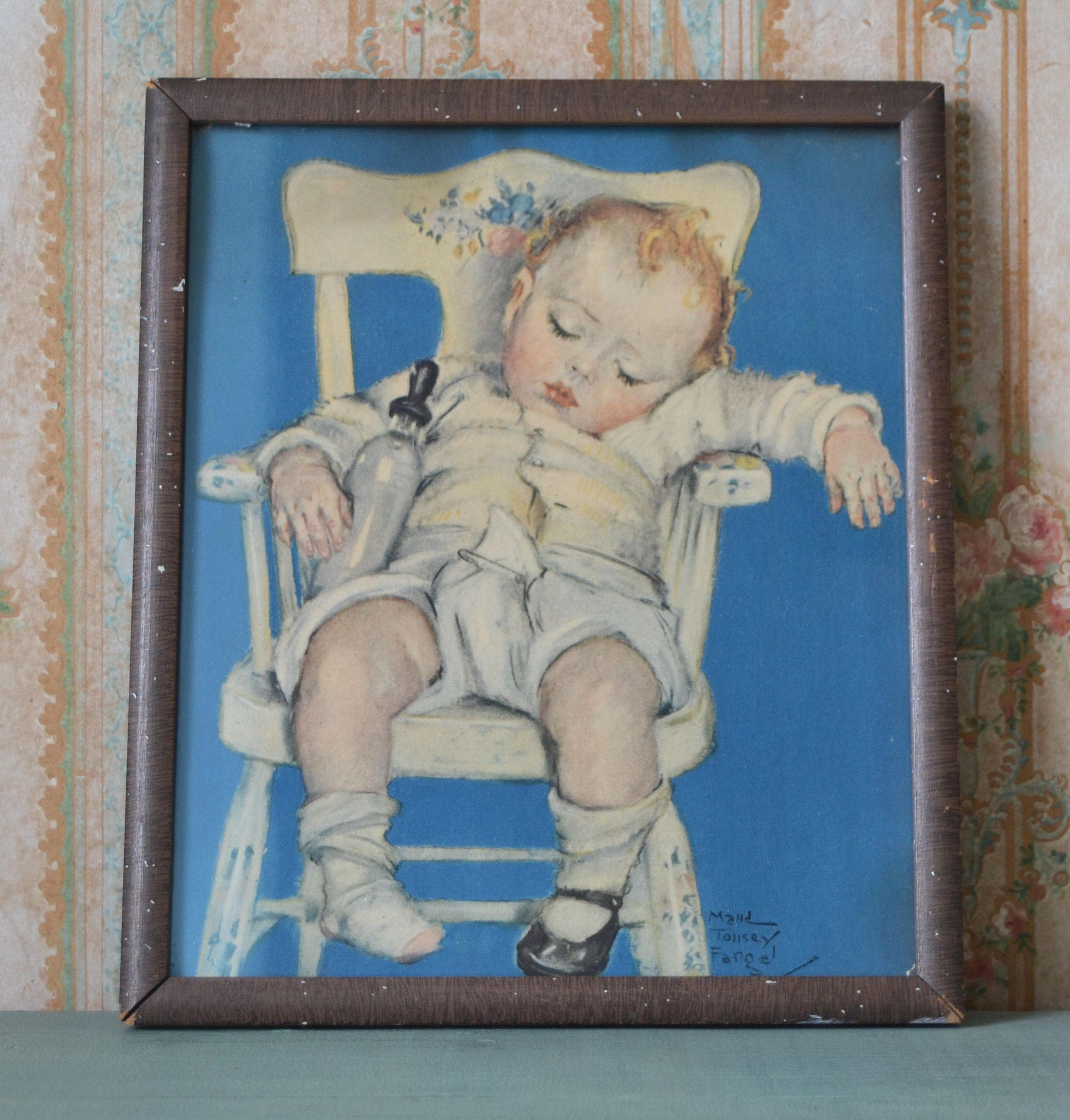 baby sleeping chair slipper chairs on sale vintage 1930 39s maud tousey fangel print in