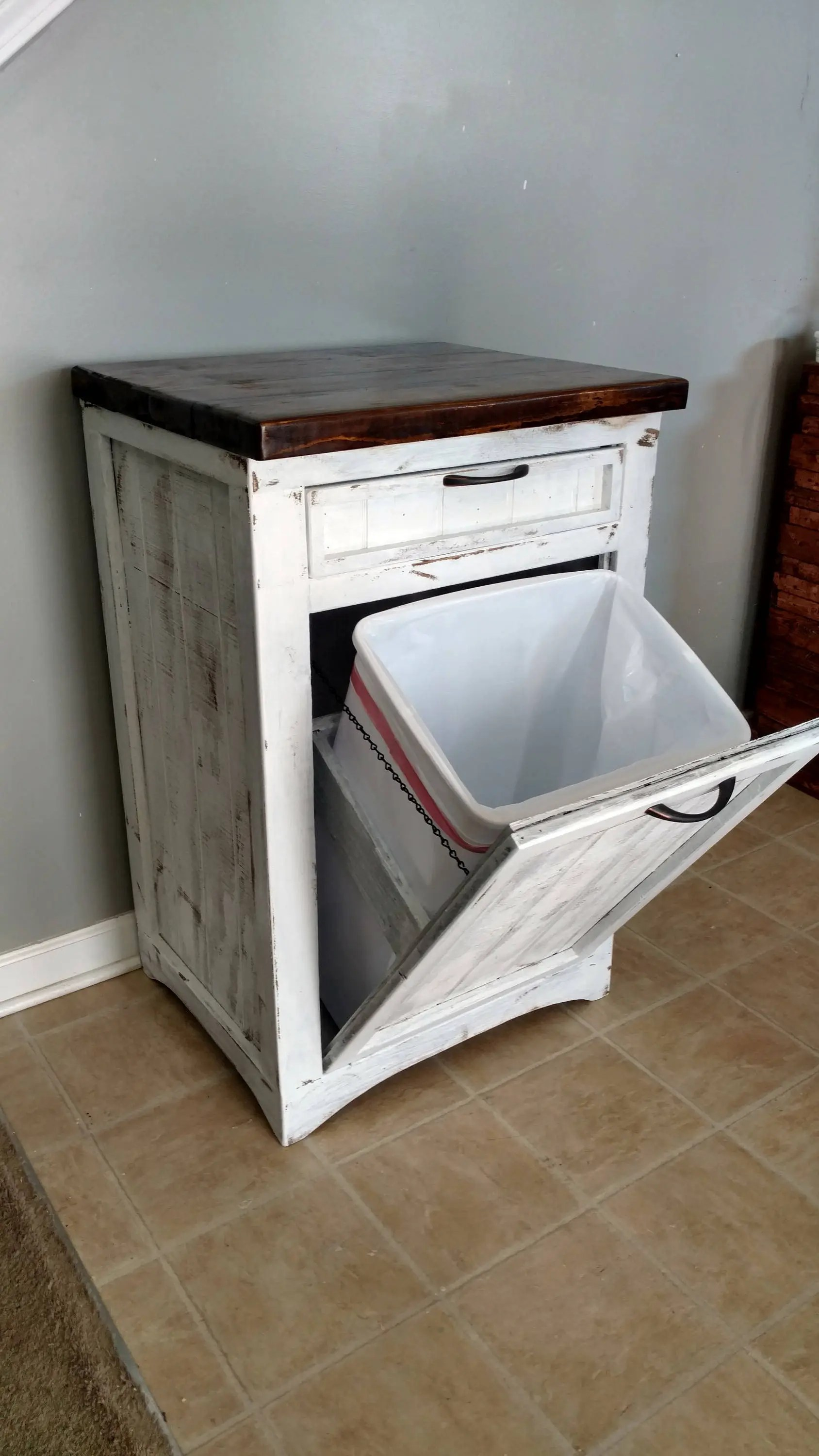 Tilt Out Trash Bin Rustic Tilt Out White Trash Can Cabinet