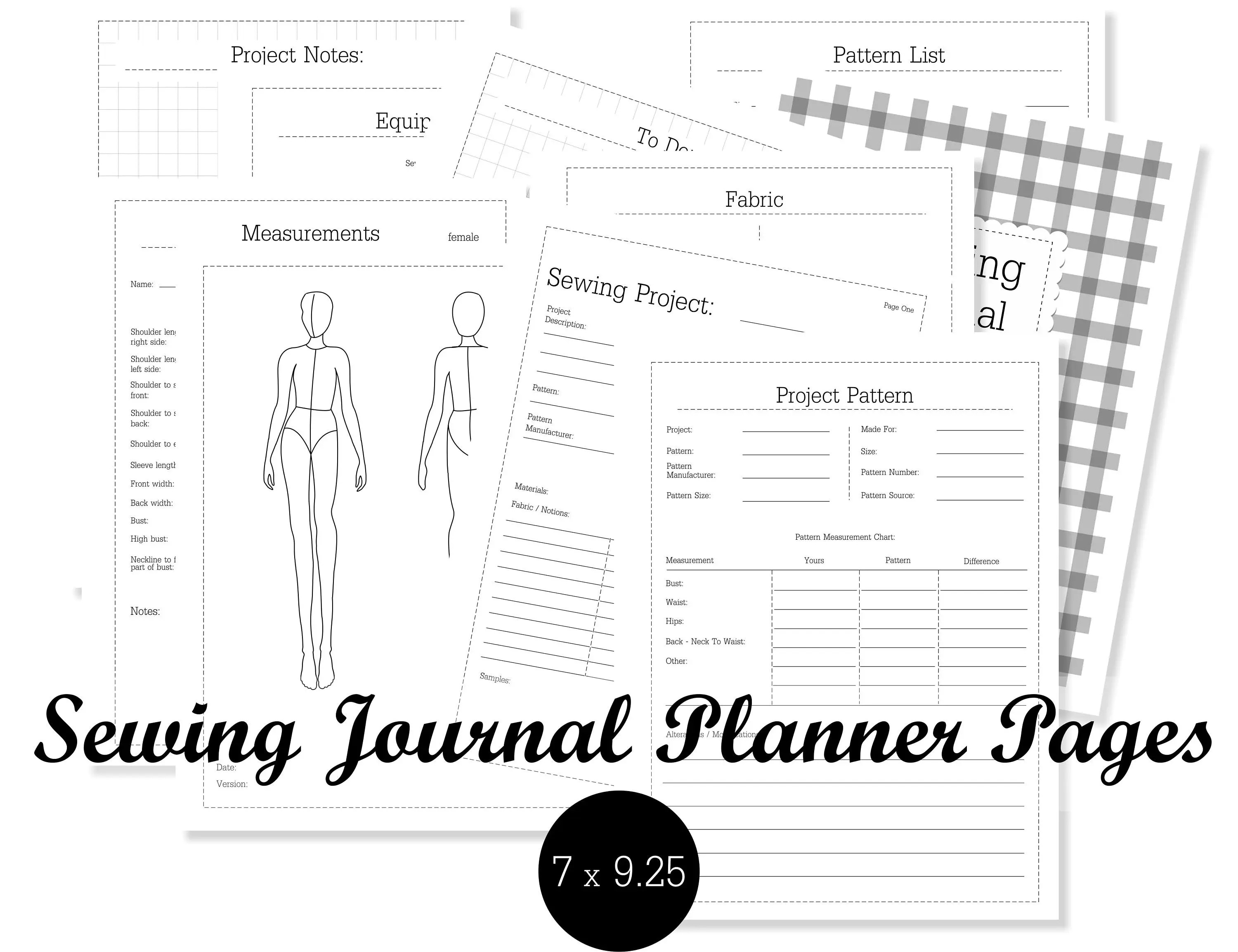 Sewing Journal Planner Pages Sewing Disc bound Planner
