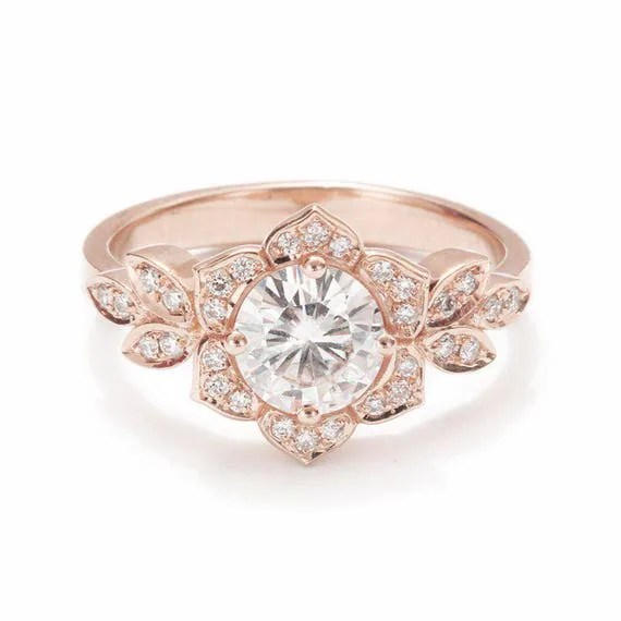 Unique Engagement Ring Vintage Lily Ring 14K Gold Ring Pave