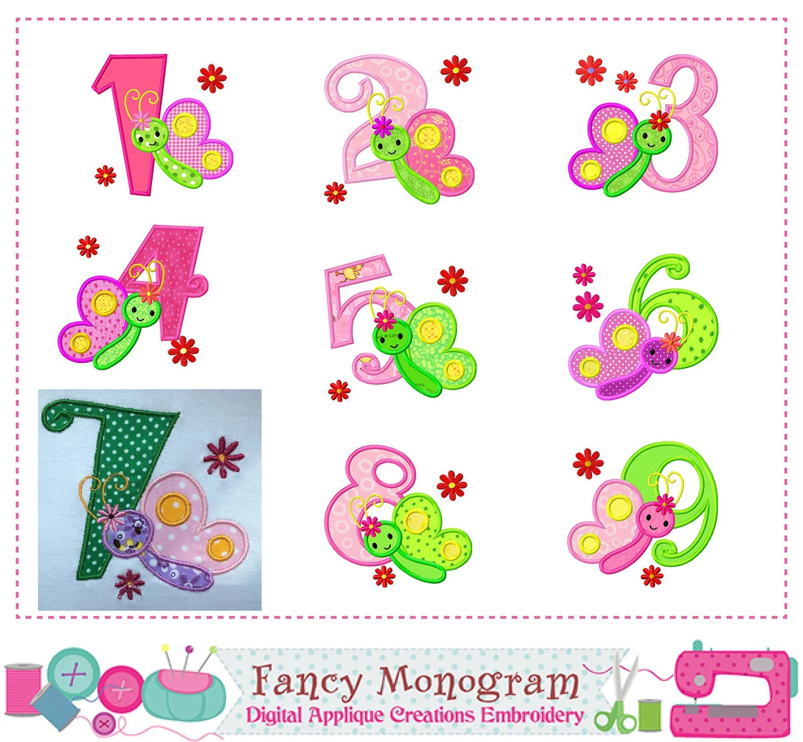 Butterfly Numbers Applique Numbers 1 9 Applique Birthday Numbers Design Girl Numbers Butterfly