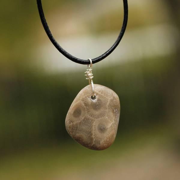 Small Petoskey Stone Necklace Lake Michigan Jewelry Beach