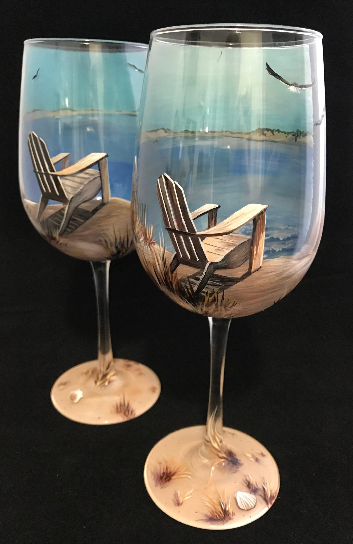 wine adirondack chair heated cover glass hand painted beach scene nautical