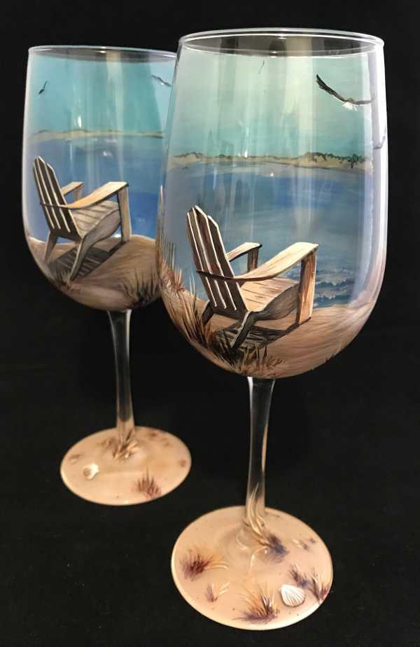 Wine Glass Hand Painted Beach Scene Nautical Adirondack Chair