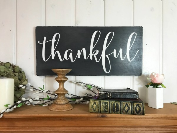 Thankful Sign Fall Wall Decor Rustic Wood