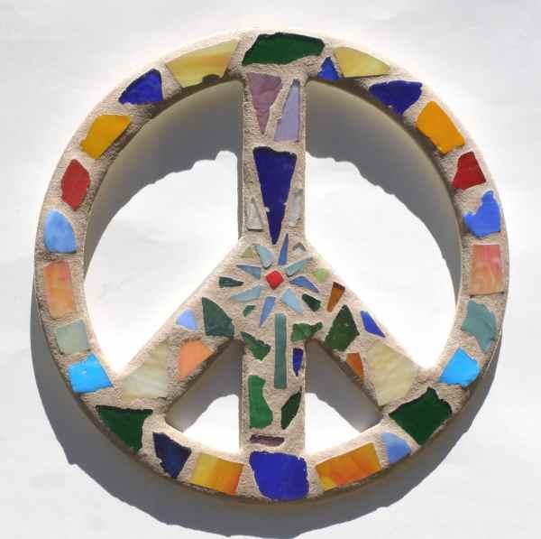 Peace Sign Wall Art Mosaic Flower Power Dorm Room Hippie