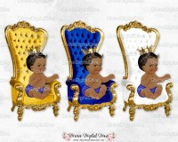 Prince Throne Chair Royal Blue White Gold Crown African