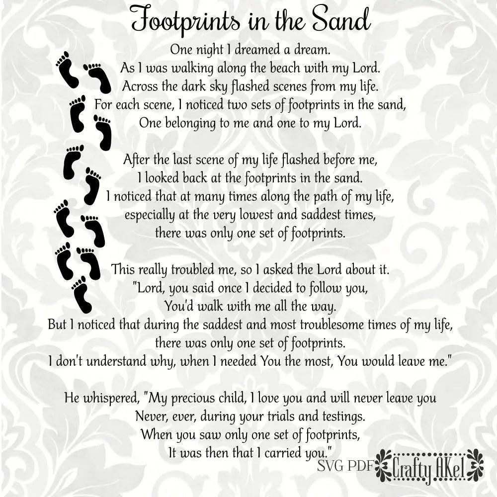 Footprints in the Sand Poem SVG PDF Digital File Vector